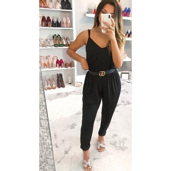 Shein Black Sleeveless Jumpsuit